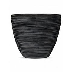 Кашпо Capi Nature planter oval m rib high black, чёрный