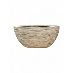Кашпо Capi Nature planter oval rib 2-й размер ivory, слоновая кость