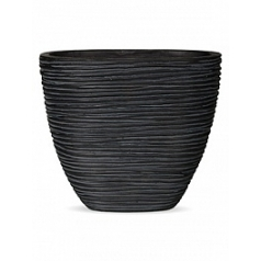Кашпо Capi Nature planter oval s rib high black, чёрный
