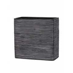 Кашпо Capi Nature planter rect high 1-й размер rib black, чёрный