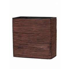 Кашпо Capi Nature planter rect high 2-й размер rib brown, коричневый
