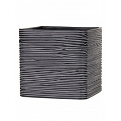 Кашпо Capi Nature planter square 2-й размер rib black, чёрный