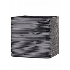 Кашпо Capi Nature planter square 4-й размер rib black, чёрный