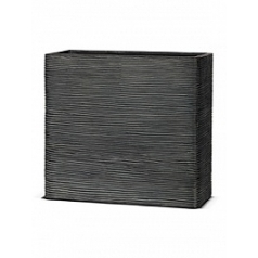 Кашпо Capi Nature rectangle rib 1-й размер black, чёрный