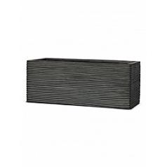 Кашпо Capi Nature rectangle rib 3-й размер black, чёрный