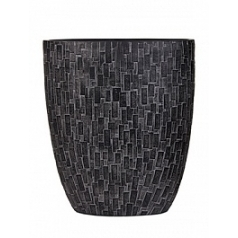 Кашпо Capi Nature stone oval planter 3-й размер black, чёрный