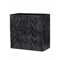 Кашпо Capi Nature stone planter rect high 2-й размер black, чёрный