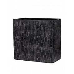 Кашпо Capi Nature stone planter rect high 3-й размер black, чёрный