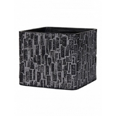 Кашпо Capi Nature stone planter square 4-й размер black, чёрный
