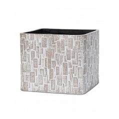 Кашпо Capi Nature stone planter square 4-й размер ivory, слоновая кость