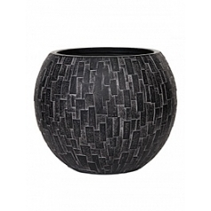 Кашпо Capi Nature stone vase ball 2-й размер black, чёрный