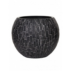 Кашпо Capi Nature stone vase ball 3-й размер black, чёрный