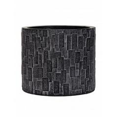 Кашпо Capi Nature stone vase cylinder 2-й размер black, чёрный