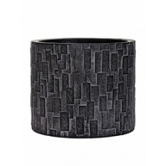 Кашпо Capi Nature stone vase cylinder 3-й размер black, чёрный