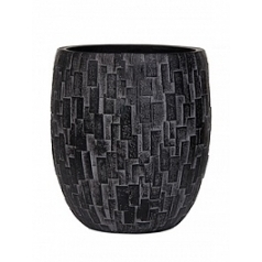Кашпо Capi Nature stone vase elegant high 2-й размер black, чёрный