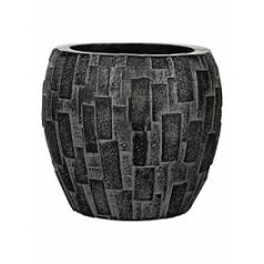 Кашпо Capi Nature stone vase elegant 2-й размер black, чёрный