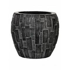 Кашпо Capi Nature stone vase elegant 3-й размер black, чёрный