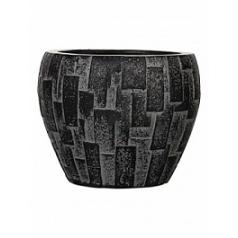 Кашпо Capi Nature stone vase taper round 3-й размер black, чёрный
