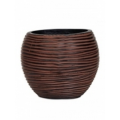 Кашпо Capi Nature vase ball 2-й размер rib brown, коричневый