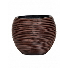 Кашпо Capi Nature vase ball 3-й размер rib brown, коричневый