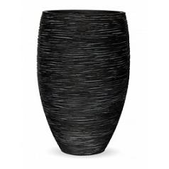 Кашпо Capi Nature vase elegance deLuxe rib 1-й размер black, чёрный