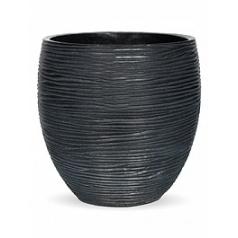 Кашпо Capi Nature vase elegance rib 3-й размер black, чёрный