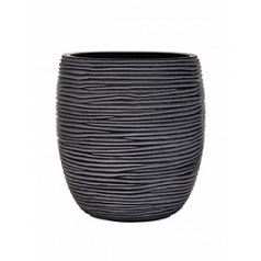 Кашпо Capi Nature vase elegant high 2-й размер rib black, чёрный