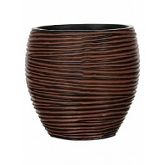 Кашпо Capi Nature vase elegant rib 2-й размер brown, коричневый