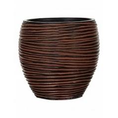 Кашпо Capi Nature vase elegant rib 3-й размер brown, коричневый