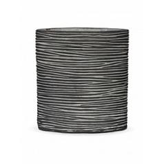 Кашпо Capi Nature vase ellipse rib black, чёрный