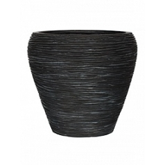 Кашпо Capi Nature vase tapering round rib 2-й размер black, чёрный