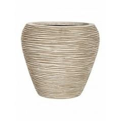 Кашпо Capi Nature vase tapering round rib 3-й размер ivory, слоновая кость