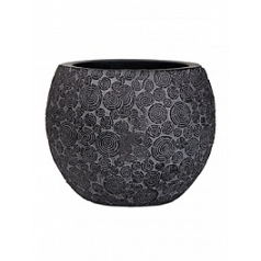 Кашпо Capi Nature wood vase ball 3-й размер black, чёрный