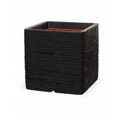 Кашпо Capi Tutch rib nl pot square black, чёрный