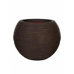 Кашпо Capi Tutch rib nl vase ball dark brown, коричневый, тёмно-коричневый
