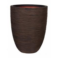 Кашпо Capi Tutch rib nl vase elegant low dark brown, коричневый, тёмно-коричневый