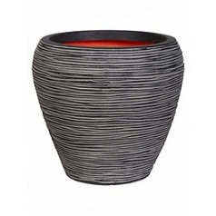 Кашпо Capi Tutch rib nl vase taper round anthracite, антрацит