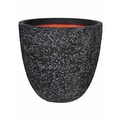 Кашпо Capi Tutch rock nl pot round l black, чёрный