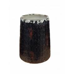 Ваза Nieuwkoop Indoor pottery pot textured -no rim distress black, чёрного цвета