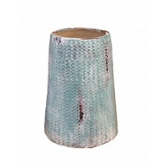 Ваза Nieuwkoop Indoor pottery pot textured -no rim distress blue, голубого/синего цвета (colour of abira)