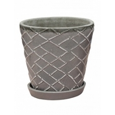 Цветочный Горшок Nieuwkoop Indoor pottery planter lattice cool grey, серого цвета 2 (with saucer)