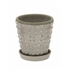 Цветочный Горшок Nieuwkoop Indoor pottery planter macassar cool grey, серого цвета 2 (with saucer)