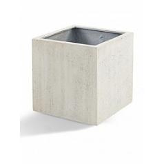 Кашпо Nieuwkoop D-lite cube XXL размер antique white, белого цвета-фактура под бетон