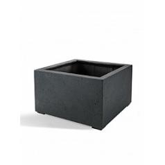 Кашпо Nieuwkoop D-lite low cube L размер anthracite, цвет антрацит-фактура бетон