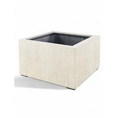 Кашпо Nieuwkoop D-lite low cube L размер antique white, белого цвета-фактура бетон