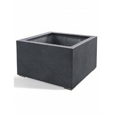Кашпо Nieuwkoop D-lite low cube L размер lead-фактура бетон