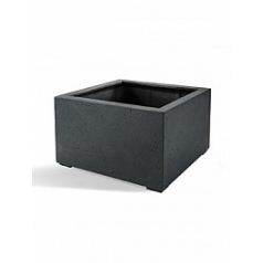 Кашпо Nieuwkoop D-lite low cube M размер anthracite, цвет антрацит-фактура бетон
