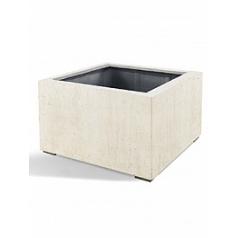 Кашпо Nieuwkoop D-lite low cube M размер antique white, белого цвета-фактура бетон