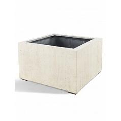 Кашпо Nieuwkoop D-lite low cube S размер antique white, белого цвета-фактура бетон