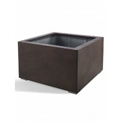 Кашпо Nieuwkoop D-lite low cube S размер rusty iron-фактура бетон